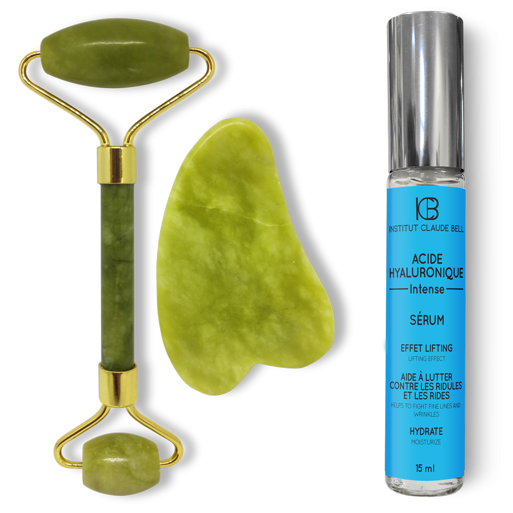 Rouleau et Gua Sha de Jade + SÉRUM ACIDE HYALURONIQUE INTENSE